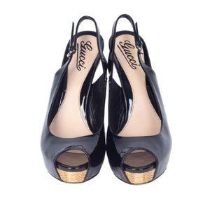 Gucci shoes heels platform sling backs